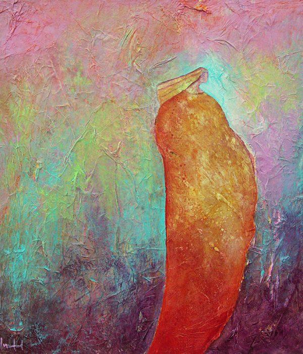 femme qui marche - Acrylique/toile - 40 x 40 cm