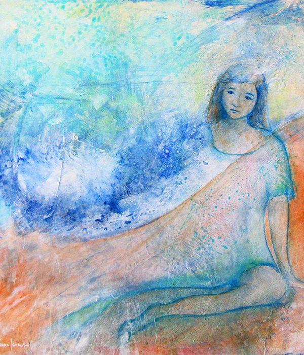 Le rêve interrompu - Technique mixte/papier - 26 x 26 cm