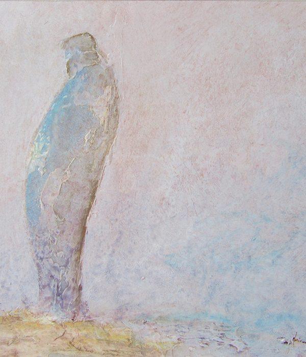 Homme des sables - Technique mixte/papier - 26 x 26 cm