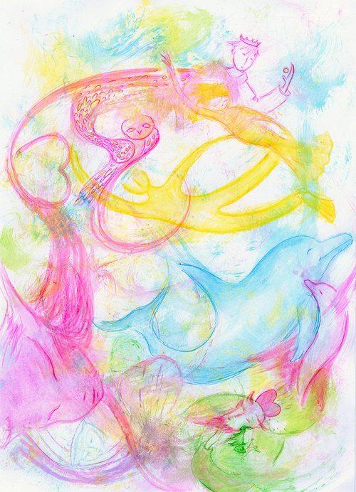 Messages des dauphins à l'humanité Je perçois 4 messages dans ce dessin : - Nous sommes beaucoup plus proches que vous l'imaginez ! (personnage rose côté gauche qui semble unir les hommes et les dauphins.) - Nagez avec nous ! (en jaune vers le haut)  - Quand vous comprendrez et admettrez que le monde animal a une conscience, vous le respecterez et l'aimerez (en bas à droite) - Cultivez la sagesse, la vérité (la chouette) et l'humanité sera alors consacrée (le roi).