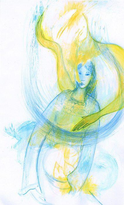"""Lady Kuan Yin : """"Prends soin de la terre Prends soin de tes graines Cultives-les avec amour Que ta parole soit inspirée La lune est ton alliée Le dragon veille Nous te soutenons Sois dans  la paix l'amour la sérénité""""."""