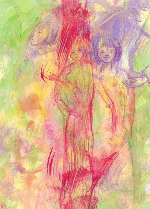 """Lorsqu'un enfant naît après le décès d'un grand frère ou d'une grande sœur et que le processus du deuil n'a pas encore commencé (ici, la mère est dans le déni, malgré une blessure au cœur, en haut à gauche du dessin), l'enfant peut devenir un """"enfant de remplacement"""". C'est le cas de cette fillette (à droite du dessin), """"placée"""" légèrement en retrait de son frère aîné (en rouge)."""